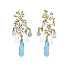 Gipsy earrings in 18K yellow gold with mixed stones and diamonds TW.VS  www.olelynggaard.com @olelynggaardcopenhagen