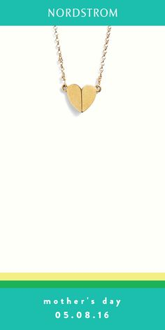 Dainty Dogeared gold heart pendant necklace makes for sweet Mother's Day gift she'll love.