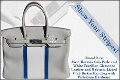 35cm Hermès Gris Perle and White Taurillon Clemence Leather and Mykonos Lizard Club Birkin Handbag with Palladium Hardware - Show Your Stripes!