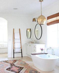 Minimalist modern Moroccan-inspired bathroom.