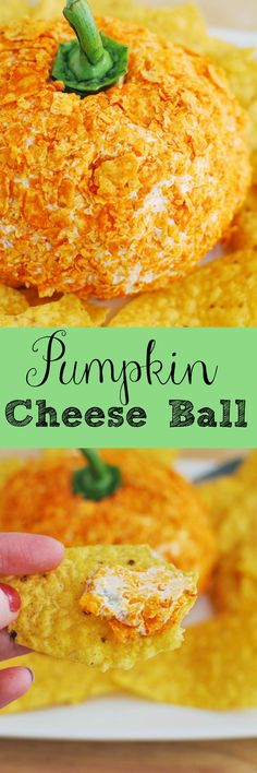 Pumpkin Cheese Ball - delicious cheddar cheese ball with crushed Doritos on the outside to look like a pumpkin!