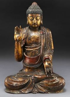"""Large Chinese Ming gilt wood Buddha, hands in Buddhist mudra, with a rectangular hole in the back. 35""""H, Circa - 16th C."""