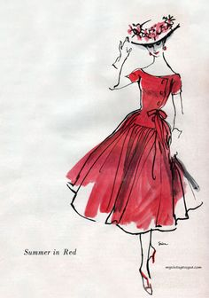 Summer Red by Mollie Parnis,  c.1956 - sketch by Erica
