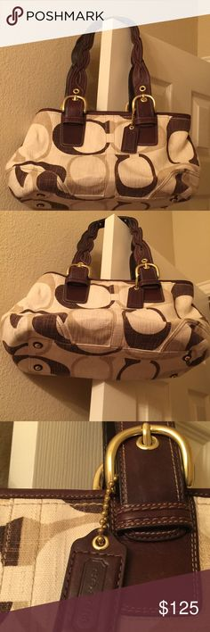 """Coach Satchel w/ large C signature & Braided Strap Coach Handbag Satchel C signature BROWN TAN gold buckle BRAIDED STRAP This large COACH leather trimmed chocolate multi Tonal C Satchel with a zipper closure is absolutely beautiful! The like new purse measures 17""""x8""""x6"""". Inside fabric is a chocolate brown. There is one zippered pocket and two slide pockets inside. Sides can button or unbutton to expand the size of the bag. The double leather handles are braided and have an 8"""" drop. MSRP…"""