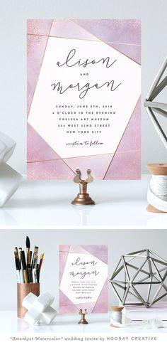 """Amethyst Watercolor"" modern geometric wedding invitation   design and styling by Hooray Creative"
