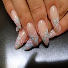 Pointy nails with floral tips