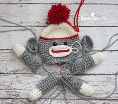 Crochet Sock Monkey Lovey Blanket - Repeat Crafter Me                                                                                                                                                                                 More