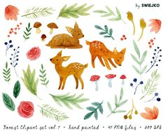 Forest clipart set vol. 1 Graphics Watercolor forest set of 41 separated illustrations. Wild wood creatures and greenery, roe deers, fe by swiejko Hirsch Illustration, Forest Illustration, Graphic Illustration, Illustrations, Watercolor Cards, Watercolor Flowers, Watercolour, Roe Deer, Christmas Stationery