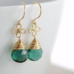 Earrings Emerald Green Quartz 14k Gold Fill Clovers by aubepine, $44.00