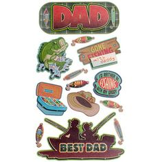 Bought-Fishing > Fishing Dad Dimensional Stickers - Sticko: A Cherry On Top