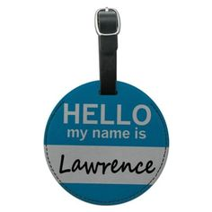 Lawrence Hello My Name Is Round Leather Luggage ID Bag Tag, Black