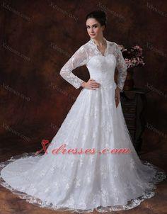Wedding Dress Long Sleeves Zipper-up