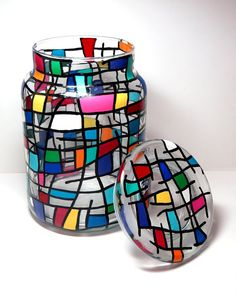 Handpainted Vibrant Mosaic on 6 Tall Glass Jar with Lid