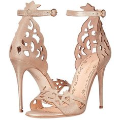 Marchesa Jenna (Light Gold Brushed Suede) Women's Shoes ($795) ❤ liked on Polyvore featuring shoes, leather upper shoes, open toe high heel shoes, high heel shoes, open toe stilettos and ankle tie shoes