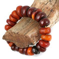 Antique amber bead bracelet