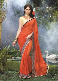 Buy PartyWear Embroidered Faux Georgette Art Silk Saree by shreesaifashion Online at Xarato.com