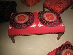 Embroiderd bench/Ottoman -many different designs and colours Ottoman Bench, Ottomans, Vanity Bench, Cushions, Colours, Design, Home Decor, Homemade Home Decor, Throw Pillows