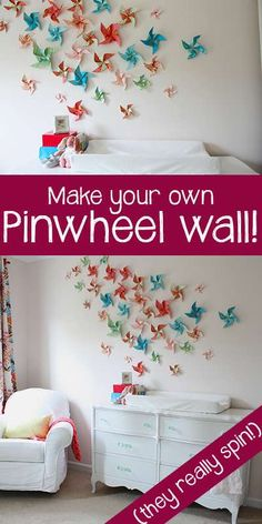 How to Make a DIY Pinwheel Wall. Maybe to go with our hot air balloons in the spring?