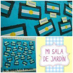 """20 de Junio """"Día de la Bandera Nacional"""" Hicimos estas banderas con palitos de Helado y mis alumnos las pintaron con temperas celeste y blanca. Después le agregamos el detalle del sol. ¡Espero que te guste!"""