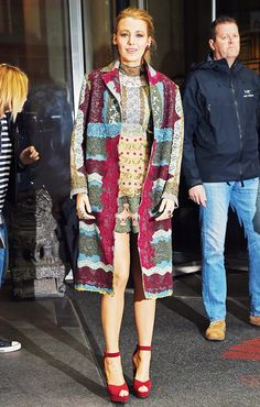 Blake Lively wears a multicolor matching Valentino coat and dress with platform sandals