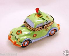New French Limoges Box Hippie Peace and Love Bug Volkswagen Car Removable Flower