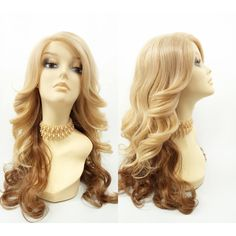 Long 21 Inch Lace Front Golden Blonde Strawberry Blonde Wavy Wig... ($70) ❤ liked on Polyvore featuring bath & beauty, grey, hair care and wigs