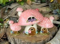 Fairy House Ceramic Garden Mushroom Triple by EnchantdMushroomLand