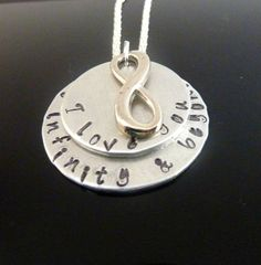 Hand stamped infinity necklace I love you to by TwoCharmingDreams, $20.00 https://www.etsy.com/listing/166545532/hand-stamped-infinity-necklace-i-love