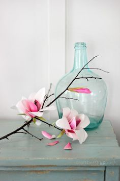 DIY: watercolor paper magnolia flower
