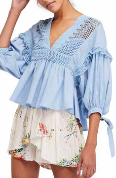 Stir a frenzy of positive emotions in this breezy dot-textured cotton blouse with a sharp plunging neckline, puff sleeves and crochet trim.- Free People Drive You Mad Blouse Blouse Styles, Blouse Designs, Fashion Mode, Fashion Outfits, Womens Fashion, Denim Jacket With Dress, Clothing Blogs, Next Clothes, Basic Tops
