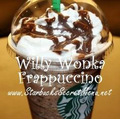 Starbucks Secret Menu: Willy Wonka Frappuccino :O Starbucks Secret Frappuccino, Starbucks Secret Menu Drinks, Starbucks Coffee, Bebidas Do Starbucks, Champurrado, Secret Menu Items, Willy Wonka, Coffee Recipes, Drink Recipes