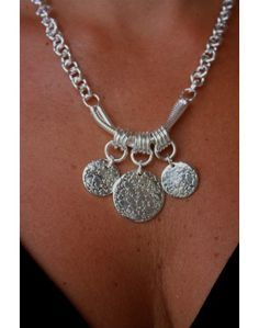 """STERLING SILVER THREE COIN CHARM NECKLACE"" by KSAR Jewels, LLC #Fashion_Jewelry"