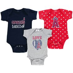 Los Angeles Angels of Anaheim Soft As A Grape Girls Newborn & Infant Baby Girl Love Baby Girl Love Multi-Size 3-Pack Bodysuit Set - $26.39