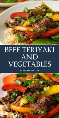 This beef teriyaki and vegetables is really delicious! We sliced a lean sirloin steak into thin strips (chicken can also be used if you prefer), and created a stir-fry of carrots, snow peas, mushrooms and sliced sweet bell pepper that was flavored with sc Meat Recipes, Asian Recipes, Dinner Recipes, Cooking Recipes, Healthy Recipes, Healthy Nutrition, Drink Recipes, Cooking Tips, Free Recipes