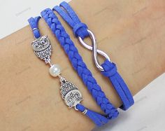 blue leather braceletsowl braceletsmens by lifesunshine on Etsy, $3.99