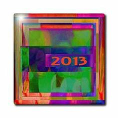 """2013, Abstract, Multi Colored - 12 Inch Ceramic Tile by 3dRose. $22.99. Dimensions: 12"""" H x 12"""" W x 1/4"""" D. Image applied to the top surface. High gloss finish. Construction grade. Floor installation not recommended.. Clean with mild detergent. 2013, Abstract, Multi Colored Tile is great for a backsplash, countertop or as an accent. This commercial quality construction grade tile has a high gloss finish. The image is applied to the top surface and can be cleaned wit..."""