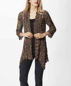 Simply Couture Red & Green Scallop Open Cardigan   zulily