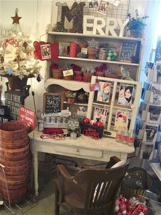 maybe put Merry in hutch in entryway   merry & BRIGHT