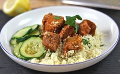Smoky citrus pork with couscous recipe -- use GF flour, omit garlic and replace wine with broth.