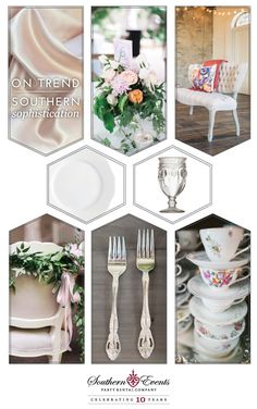 Soft and romantic are mainstays of a Southern wedding but this timeless look extends to a variety of milestones. Showers, afternoon tea with the Junior League or a child's first birthday are a perfect fit for the feminine styling of Southern Sophistication. We suggest mixing items from our Vintage Prop Shoppe like our Heirloom China …