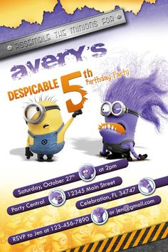 Despicable Me 2 Purple Evil Minion invitations