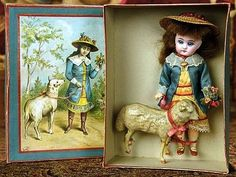 """Sonneberg Bisque Doll as """"Mary Had a Little Lamb"""" in Presentation Box."""