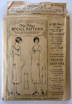 Vintage 1920s Woman's Slip Pattern - McCall No. 4180 Size 42, Factory Folded via Etsy $45.00