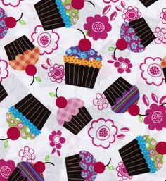 Novelty Quilt Fabric-Cupcakes And Flowers & Novelty Fabric at Joann.com