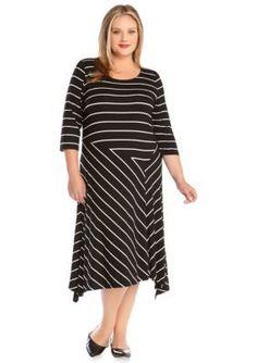 Karen Kane  Plus Size Striped Uneven Hem Dress
