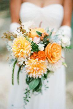 Orange and emerald wedding bouquet