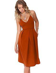 2b6cc380b2f Eliacher Women's Deep V Neck Adjustable Spaghetti Straps Summer Dress  Sleeveless Sexy Backless Party Dresses With Pocket