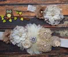 Gorgeous Sash Set Headband Maternity Wedding by Doodlebopperz, $35.00