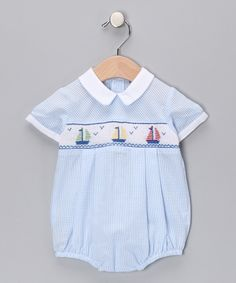 Blue Gingham Bubble for baby boys