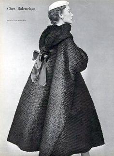 Black silk bearded evening coat by Balenciaga, 1952